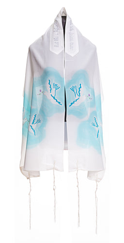 Floating Peace Doves Tallit, Silk tallit, Bat Mitzvah tallit, womens tallit, girls tallit by Galilee Silks