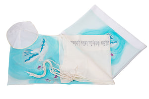 Floating Peace Doves Tallit, Silk tallit, Bat Mitzvah tallit set, womens tallit, girls tallit by Galilee Silks