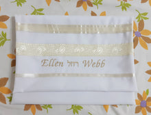 Load image into Gallery viewer, Cream Paisley Tallit for women, girls tallit, bat mitzvah tallit bag Ellen, womens tallit