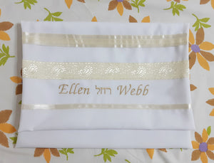 Cream Paisley Tallit for women, girls tallit, bat mitzvah tallit bag Ellen, womens tallit