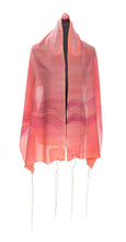 Load image into Gallery viewer, Pink and Peach Tallit With Wave Decoration, Bat Mitzvah Tallit, Silk Tallit, Tallit for girl, Women's Tallit