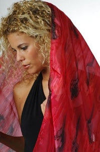 Dramatic Lava Hand painted Red and Black Blend Silk Scarf, Head Cover, Head Wrap, Silk Sarong