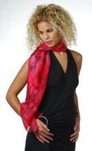 Load image into Gallery viewer, Dramatic Lava Hand painted Red and Black Blend Silk Scarf, Head Cover, Head Wrap, Silk Sarong