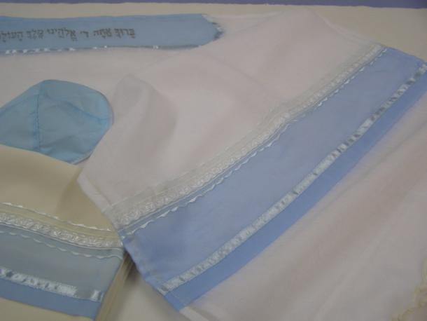 Light Blue Tallit for girl, tallit for women