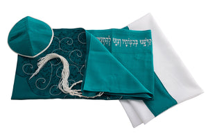 Tree of life Green womens tallit set by Galilee Silks Israel