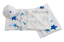 Load image into Gallery viewer, Blue flowers silk tallit set, bat mitzvah tallit, tallit for women, tallit for girl, feminine tallit