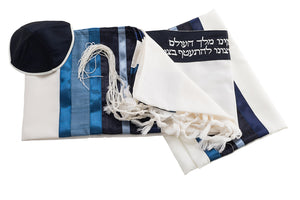 Blue & White Wool Tallit for men set by Galilee Silks