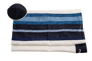 Blue & White Wool Tallit for men by Galilee Silks