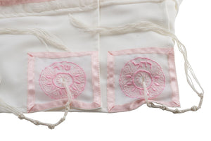 Four Mothers in Pink Tallit, Bat Mitzvah Tallit, girls tallit, womens tallit names 2 by Galilee Silks