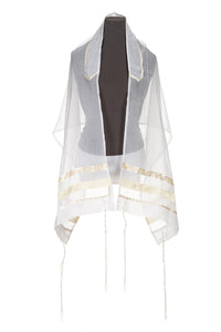 Creme Paisley Tallit for women, girls tallit, bat mitzvah tallit by Galilee Silks Israel
