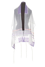 Load image into Gallery viewer, Pastel Peach and Purple dots Tallit for Girls, bat mitzvah tallis