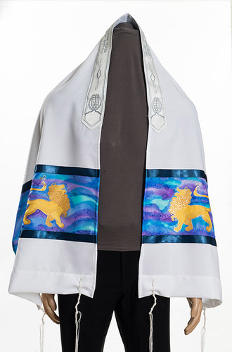 lion of Judah Jewish Prayer Shawl Tallit, Bar Mitzvah Tallit, Hebrew Prayer Shawl