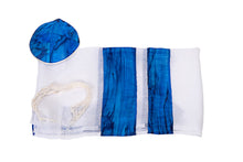 Load image into Gallery viewer, Sea Blue Silk Stripes Girls Tallit, Bat Mitzvah Tallit, tallit for Girl, Silk Tallit, Feminine Tallit, Women's Tallit flat