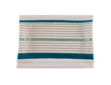 Load image into Gallery viewer, Sheer Tallit for Women with Teal Colored Elements, Bat Mitzvah Tallit, Girl Tallit