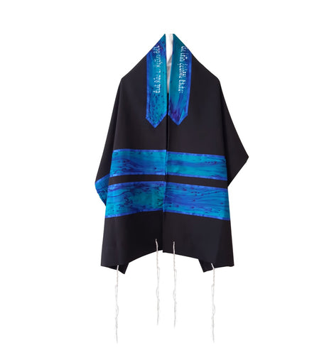 Turquoise and Blue Hand Painted Silk Stripes Black Tallit for Women, Bat Mitzvah Tallit, Girls Tallit, Tzitzit