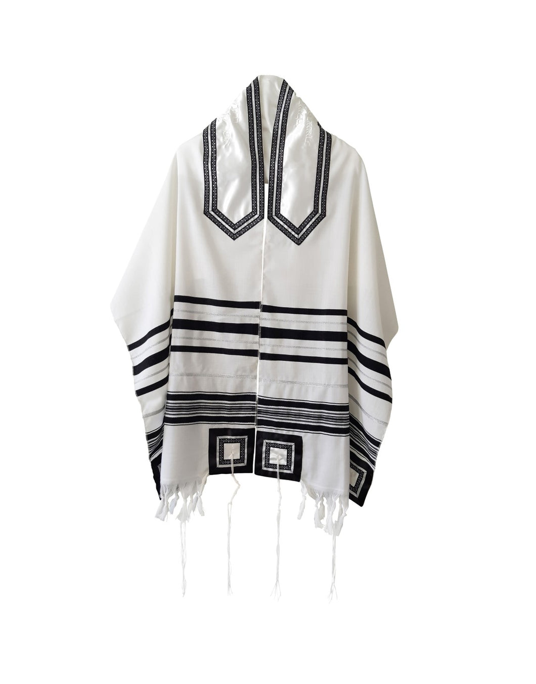 Classic Black and Silver Decorated Wool Tallit for Men, Bar Mitzvah Tallit ,Hebrew Prayer Shawl Tzitzit, Wedding Tallit, Tallis 1