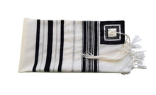 Load image into Gallery viewer, Classic Black and Silver Decorated Wool Tallit for Men, Bar Mitzvah Tallit ,Hebrew Prayer Shawl Tzitzit, Wedding Tallit, Tallis flat 2