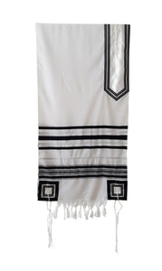 Classic Black and Silver Decorated Wool Tallit for Men, Bar Mitzvah Tallit ,Hebrew Prayer Shawl Tzitzit, Wedding Tallit, Tallis hung
