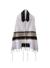 Load image into Gallery viewer, JOSEPH Gold, Black and Olive Green decorated Wool Tallit for men – Bar Mitzvah Tallit, Hebrew Prayer Shawl, Tzitzit Wedding Tallit, Tallit Prayer Shawl, Contemporary Tallit