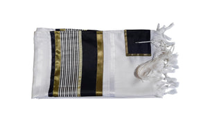 JOSEPH Gold, Black and Olive Green decorated Wool Tallit for men – Bar Mitzvah Tallit, Hebrew Prayer Shawl, Tzitzit Wedding Tallit, Tallit Prayer Shawl, Contemporary Tallit flat 2
