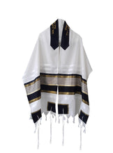 Load image into Gallery viewer, JOSEPH Gold, Black and Olive Green decorated Wool Tallit for men – Bar Mitzvah Tallit, Hebrew Prayer Shawl, Tzitzit Wedding Tallit, Tallit Prayer Shawl, Contemporary Tallit shawl