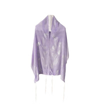 Load image into Gallery viewer, Lilac waves Silk Tallit for women, Tallit for Girl, Bat Mitzvah Tallit, Feminine Tallit, Women's Tallit Prayer Shawl