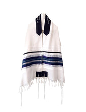 Load image into Gallery viewer, Blue, Gray and Silver shades stripes Wool Tallit, Bar Mitzvah Tallit Set Tzitzit from Israel