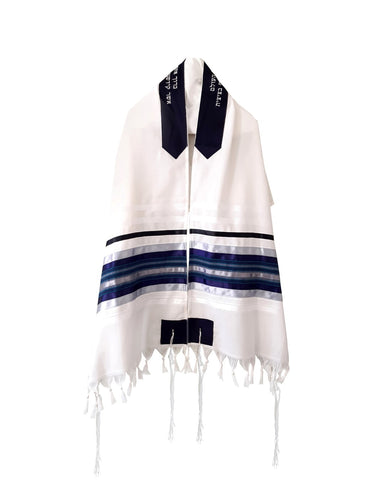 Blue, Gray and Silver shades stripes Wool Tallit, Bar Mitzvah Tallit Set Tzitzit from Israel