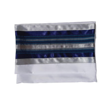 Load image into Gallery viewer, Blue, Gray and Silver shades stripes Wool Tallit, Bar Mitzvah Tallit bag, tzitzit