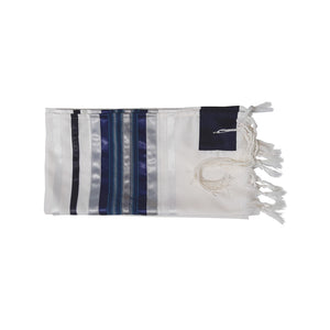 Blue, Gray and Silver shades stripes Wool Tallit, Bar Mitzvah Tallit Set Tzitzit from Israel flat 2