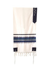 Load image into Gallery viewer, Blue, Gray and Silver shades stripes Wool Tallit, Bar Mitzvah Tallit Set Tzitzit from Israel hang