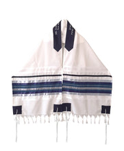 Load image into Gallery viewer, Blue, Gray and Silver shades stripes Wool Tallit, Bar Mitzvah Tallit Set Tzitzit open