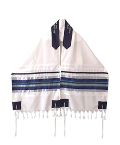 Blue, Gray and Silver shades stripes Wool Tallit, Bar Mitzvah Tallit Set Tzitzit open