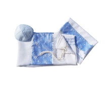 Load image into Gallery viewer, Opaque Baby Blue and Silver Floral Tallit for women, Bat Mitzvah Tallit SET, Tallit for Girl
