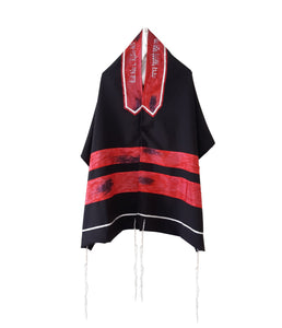 Dramatic Fire Lava Hand Painted Sillk Stripes Black Tallit for Women, Bat Mitzvah Tallit, Girls Tallit
