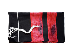 Dramatic Fire Lava Hand Painted Sillk Stripes Black Tallit for Women, Bat Mitzvah Tallit, Girls Tallit flat