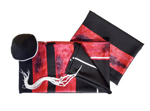 Dramatic Fire Lava Hand Painted Sillk Stripes Black Tallit for Women, Bat Mitzvah Tallit, Girls Tallit set