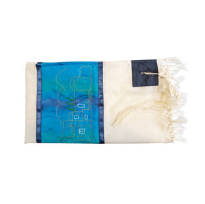 Tallit With Jerusalem Embroidery In Gold, Bar Mitzvah Tallit Set, Wool Tallit flat