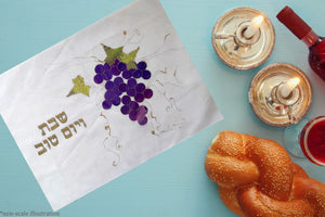 Hand Painted Silk Purple Vine Branch Challah Cover