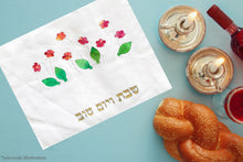 Load image into Gallery viewer, Delicate Hand Painted Silk Flowers Appliques Challah Cover