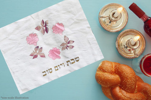 Hand Painted Silk Pink Flowers and Autumn Leaves Challah Cover