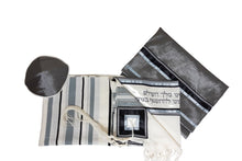 Load image into Gallery viewer, Classic Tallit With Gray & Black Strips, Bar Mitzvah Tallit Set, Wool Tallit, Wedding Tallit by galilee silks