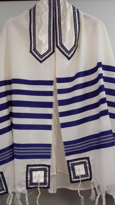 Classic blue and white wool Tallit for men by Galilee Silks