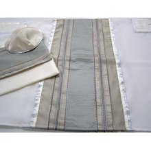 Load image into Gallery viewer, Tallit Stone stripes, Wool Tallit, Bar Mitzvah Tallit Set, Wedding Tallit Prayer Shawl Modern Tallit