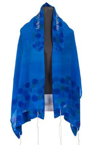 Hand painted Floral Royal Blue Silk Tallit For Women, girls tallit