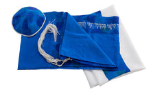 Load image into Gallery viewer, Hand painted Floral Royal Blue Silk Tallit For Women, girls tallit
