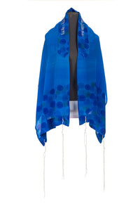 Hand painted Floral Royal Blue Silk Tallit For Women, girls tallit, blue tallit by Galilee Silks
