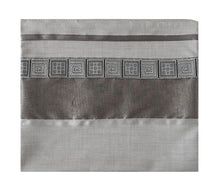 Load image into Gallery viewer, Distinguished Gray Tallit with Geometric Design, Viscose Tallit, Tallit Prayer Shawl, Bar Mitzvah Tallit bag