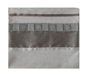 Distinguished Gray Tallit with Geometric Design, Viscose Tallit, Tallit Prayer Shawl, Bar Mitzvah Tallit bag