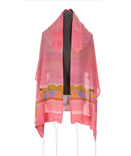 Silk Tallit for girl, Pink tallit, girls tallit, womens tallit, jerusalem tallit,Bat Mitzvah Tallit, Hand made Tallit by Galilee Silks